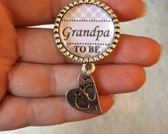 Grandpa to be pin, Personalized Gift, Baby Shower, First Baby, Pregnancy Announcement, Pin Back or Magnet Back,Polka dots, Grey
