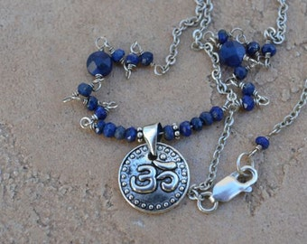Blue Saphire Om Silver Necklace Yoga Inspired September Birthstone