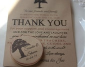 Wedding Favor Wood Magnets-50  magnets and thank you cards