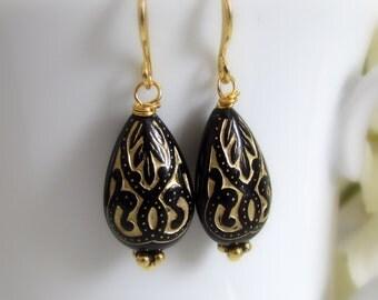 Jet Black Teardrop Earrings, Black and Gold Earrings, Dangle, Bali Style, Scroll Teardrop Earrings, Vintage Style