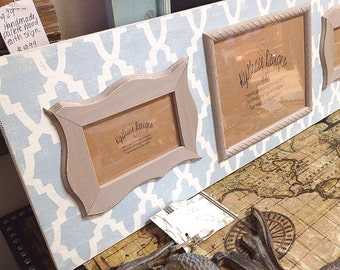 Large 3ft triple frame one 8x10 and two 4x6 frames wedding decor/stenciled frame/ frames