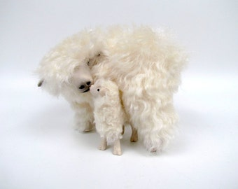 Handmade Sheep Figurine , English Lincoln Longwool  Over Lamb, Mohair and Porcelain