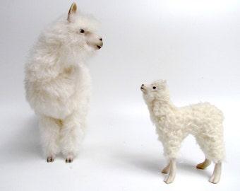"""Lifelike  Porcelain Alpaca 10"""" Figure with Cria"""