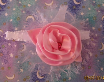 "Pink Satin Girly Girl Baby Headband 1 - 3 month old 12"" Baby Shower Gift"