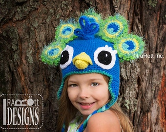 PATTERN Pavo the Peacock Hat PDF Crochet Pattern Instant Download