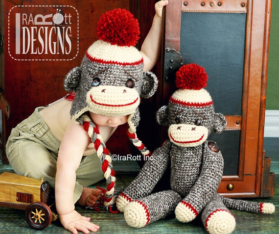 PATTERN Classic Twist Sock Monkey Hat and 21 inch Sock Monkey Doll Crochet PDF Pattern with Instant Download