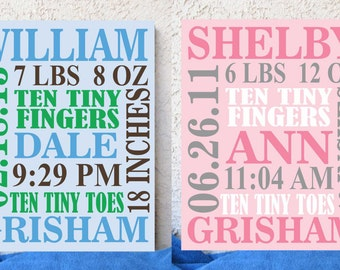 Baby Birth Announcement Canvas, Hand Painted Nursery Canvas, Custom Wall Art, Canvas Wall Quotes, Nursery Decor, Baby Shower Gift