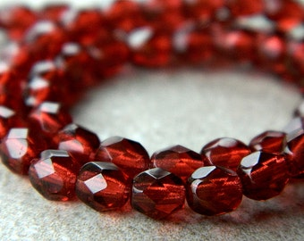 5mm Maroon Red Glass Round Beads, Czech Glass Beads, Fire Polished Faceted Beads (40pcs) NEW
