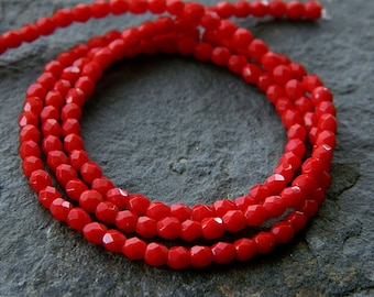 3mm Red Czech Glass Round Beads, Fire Polished Beads (100pcs) NEW
