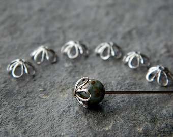 Brass  bead caps, openwork  5-petal flower bead caps, 7mm, Bright silver plated brass (10pcs)