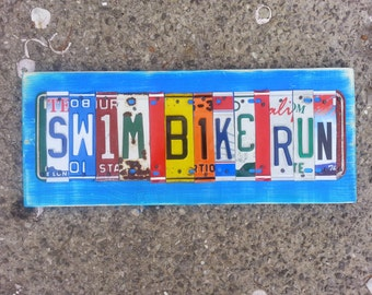 SWIM BIKE RUN Triathalon 11 letter License Plate name Sport Customized Word Sign Custom Wedding 10th Anniversary Metal Art Recycled Nursery