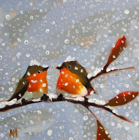 Two Robins On Snowy Day Original Bird Oil Painting By Moulton