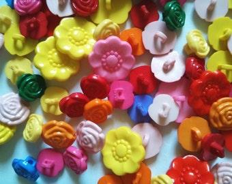 20 pcs Cute mix flower shank button mix size