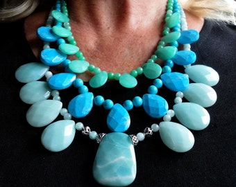 Turquoise Necklace 3 Cascading Strands Bib Collar Designer Statement Necklace with Aqua Amazonite Howlite and Hemimorphite Gems and Sterling