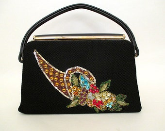 "CLEARANCE Fabulous 1950's Novelty ""Horn of Plenty"" Purse with Crystals, Sequins, by ""Coron of Texas"" Vintage Handbag Collectible Rockabilly"