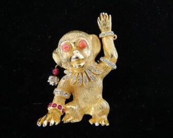 RARE Early 60's KJL Kenneth Jay Lane Fantasy Monkey Brooch