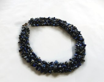 Lovely Lapis necklace 4 rows knott gifts under 50 Lapislazuli necklace