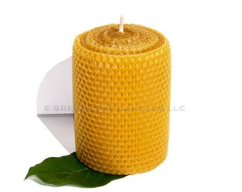 Eco Friendly Natural Sweet Honey Scent Beeswax Candle 3x4 tall