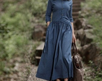 Spring dress Loose fitting Long Sleeve Sundress Maxi Dresss in Navy Blue(more colour and size choice)-NS07