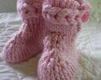 Pink Crocheted Baby Booties with Braid and Flower Bottons  Size 3 to 6 months