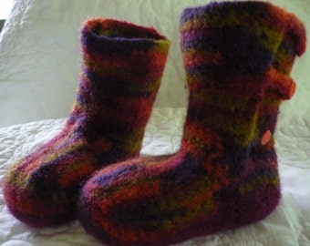 Wool Felted Booties with Buttons Size 7 Children