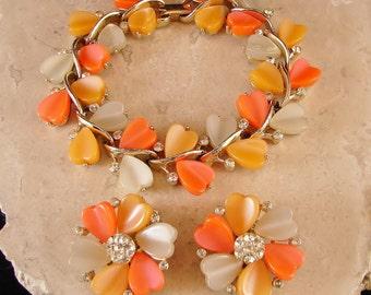 Bracelet and Earring Set - Lisner - Circa 1950's-60's - Clip-On