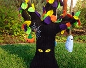 Halloween Plush Tree with Spider Web and Spider Kids Woodland Spooky Tree with Jack-O-Lantern and Ghost - Home Decor or Toy - Spooky Eyes