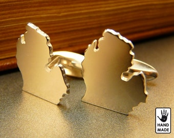 MICHIGAN STATE Handmade Sterling Silver .925 Cufflinks in a gift box