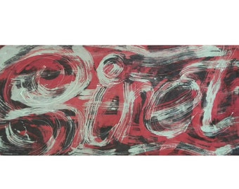 """Custom hand painted silk scarf with a name you can choose. Silk scarf  in colors chosen by you with a name made to order, long: 18"""" x 71"""""""