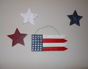PATRIOTIC STARS wall hanger, three americana stars, july 4 for wall, office, home decoration
