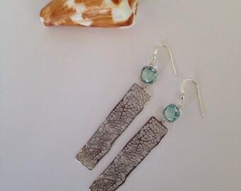 Sea Coral Fan Bar Earrings in Silver