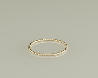 10kt twisted stacking ring, gifts for her,  christmas, stocking stuffer, engagement, thin stacker