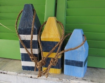 OOAK Buoy Set. Wood Buoy Home Decor. Custom Buoy set. Nautical Decor. Beach Decor. Made to Order