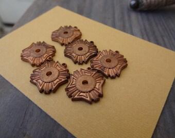 6 Copper Pendant and Cabochon Settings or Bezel Charms. 9mm. Art Deco. Fleur De Lis Vintage