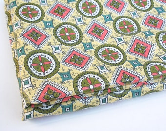 Mid century polished cotton fabric. Yardage, fine print, geometric, floral, for girls, for women, spring, summer.