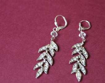 Leafy Crystal Earrings