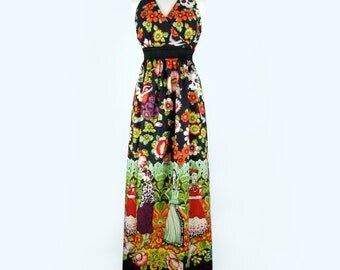 Mexican Print Maxi Dress / Frida Day of the Dead Long  Dress