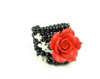 Pinup Handmade  Clay Red Rose Wrap Around Memory Black Bracelet