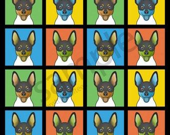 Toy Fox Terrier Cartoon Pop-Art T-Shirt Tee - Men's, Women's Ladies, Short, Long Sleeve, Youth Kids