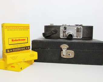 Vintage Keystone A-3 16mm Movie Camera with Film and Case