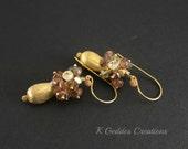 Andalusite Gold Earrings Brown Gemstone Cluster Earrings Brushed Gold Teardrop Earrings Fall Autumn Gold Drop Earrings