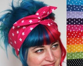 SALE - Star Print Wired Bow Headband, Various Colours Available - Christmas In July CIJ