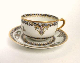 H & Co. Limoges Teacup Set Cobalt Blue and White//Vintage China//Vintage Cups And Saucers//Vintage Serveware//