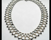 Silver Beaded Necklace, Hematite Bead Necklace, Egyptian Style Necklace, Casual and Formal Jewelry, Seed Bead Necklace, Silver Bead Necklace