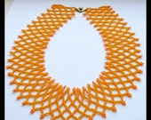 Yellow Beaded Necklace, Yellow Statement Necklace, Collar Necklace, Summer Jewelry, Wedding Jewelry, Wide Collar Necklace
