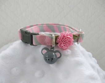 Cat Collar  Pink & Grey Zebra with mouse bell Breakaway Collar Custom Made