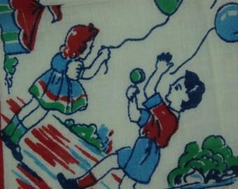 Vintage Retro Mid Century Illustrated Cotton Fabric Handkerchief 1950's