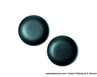 Fabric Covered  Button Earring - Vegan Leather