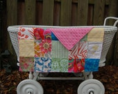 Patchwork Baby Blanket, Girl Baby Blankie, Vintage Fabric Blanket, Minky Blanket, Chenille Blanket, Soft Lovey