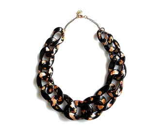 Black Chunky Chain Necklace with Copper Gold Specks, Oversized Statement Necklace, Chain Link Necklace